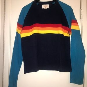 Express retro 90s rainbow striped sweatshirt L
